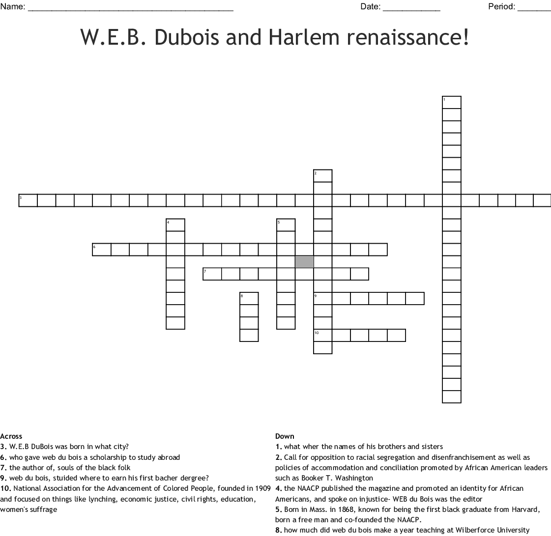 W.E.B Du Bois Crossword - WordMint