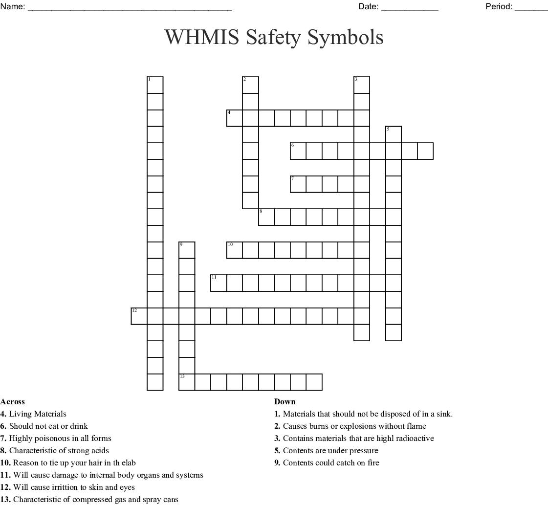 Whmis Safety Symbols Crossword Wordmint