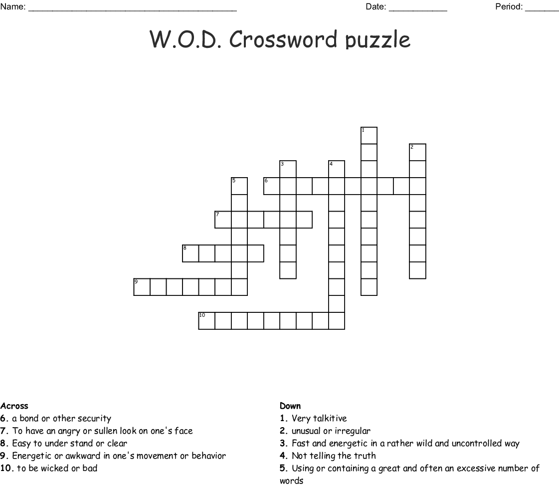 W O D Crossword Puzzle Wordmint