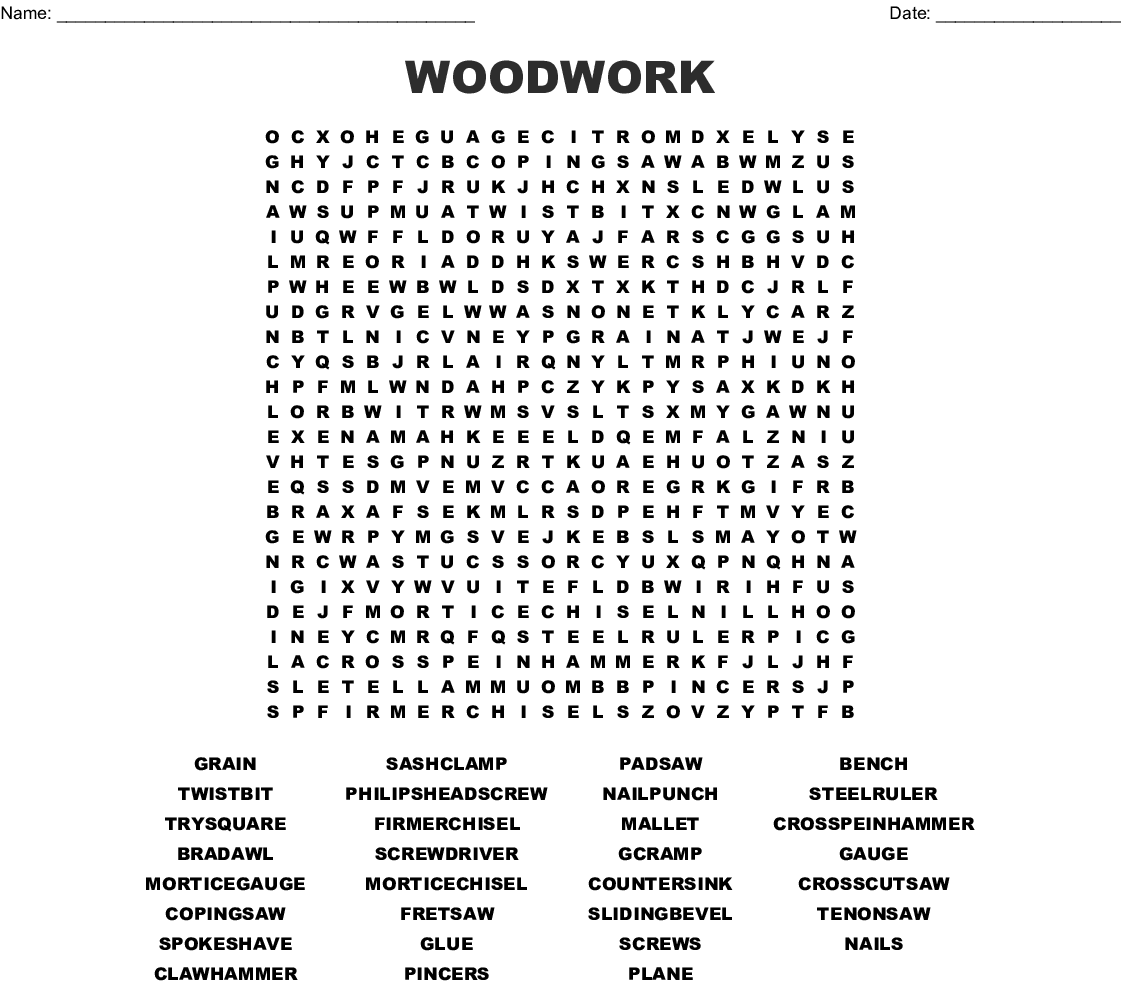 woodwork word search - wordmint