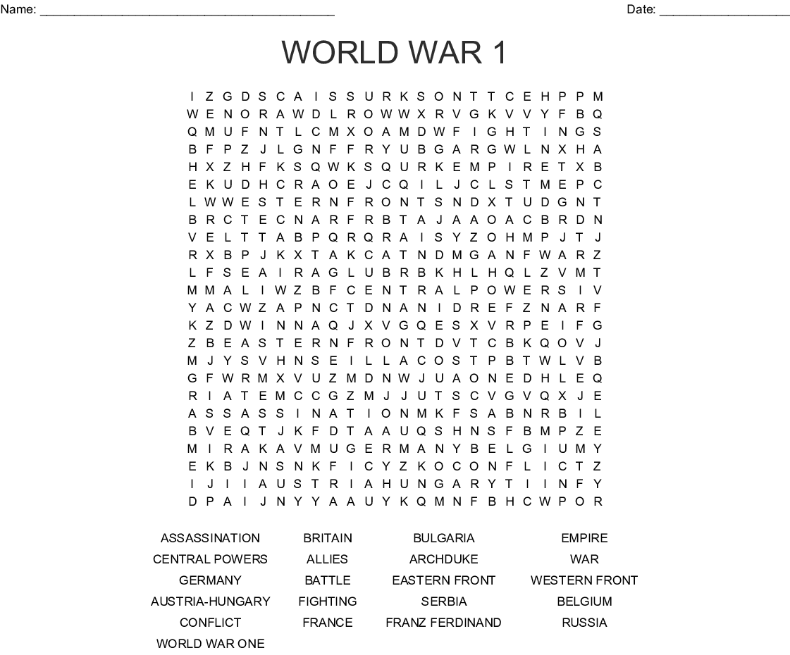 Treaties and Alliances of WWI Word Search - WordMint