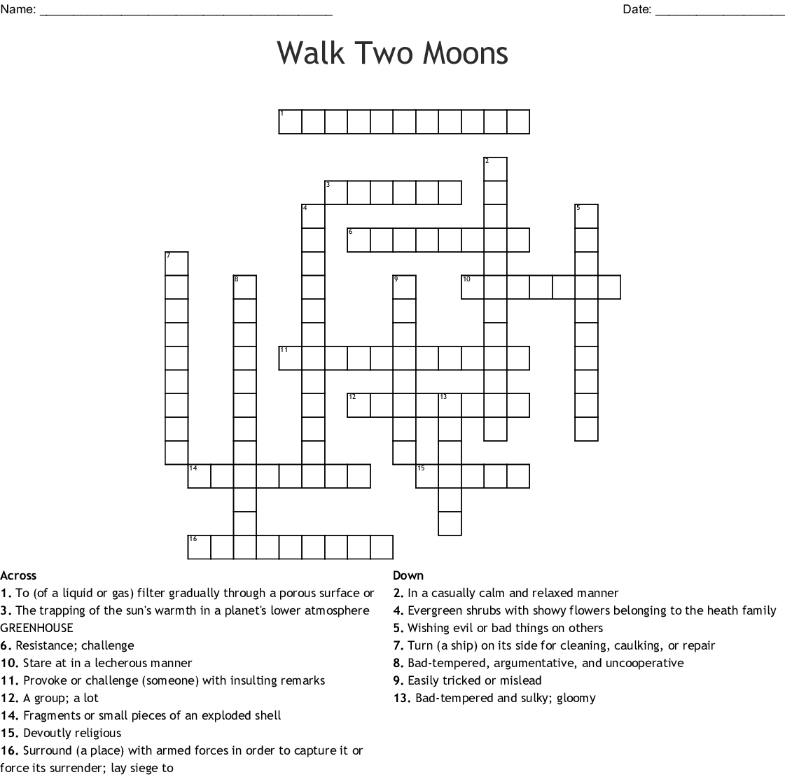 Walk Two Moons Vocabulary Word Search Wordmint