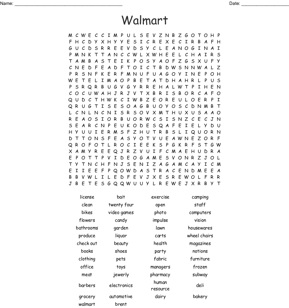 Shopping Vocabulary Word Search - WordMint