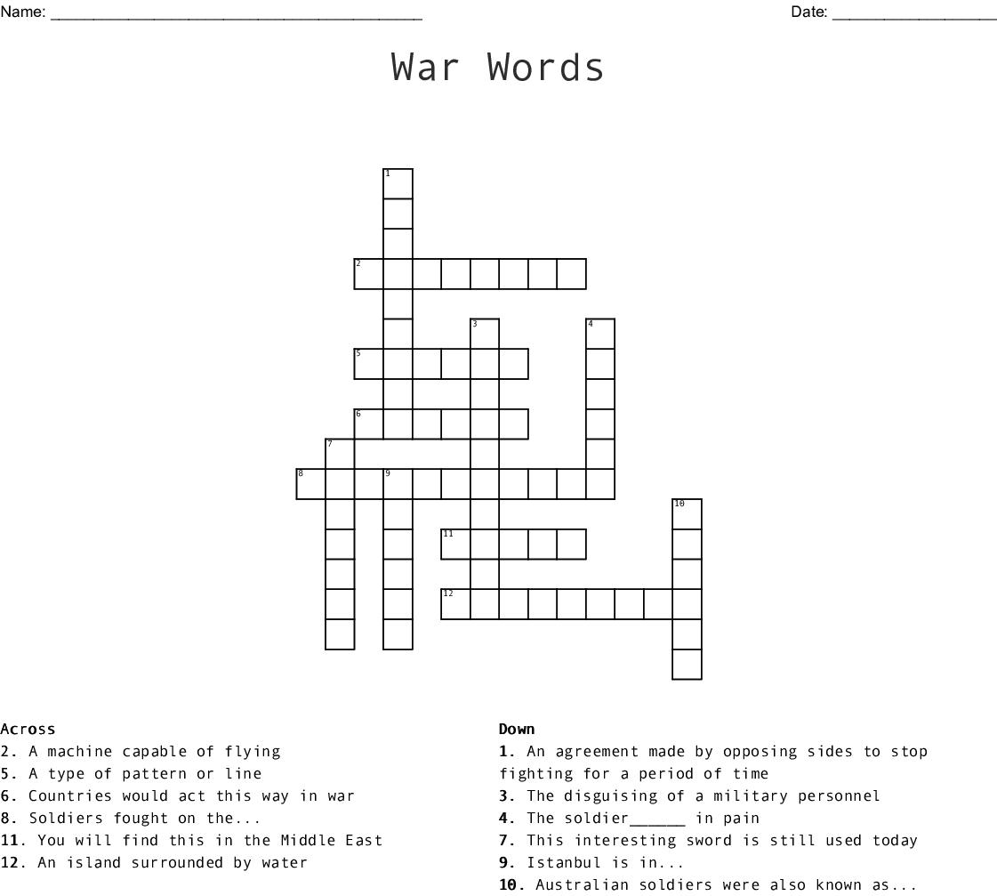 War Words Crossword - WordMint