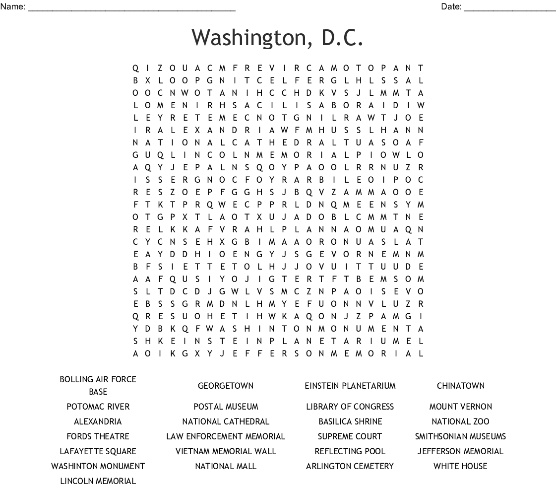 picture regarding Washington Post Crossword Printable referred to as Washington, D.C. Term Glance - WordMint