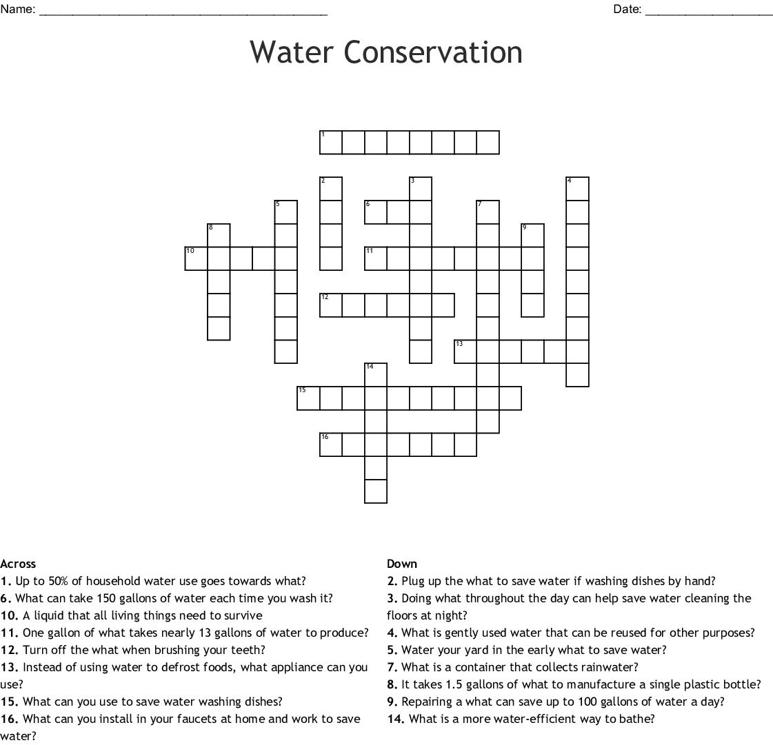Water Conservation Crossword Wordmint