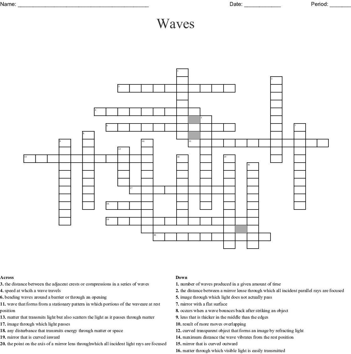 Waves Crossword Wordmint
