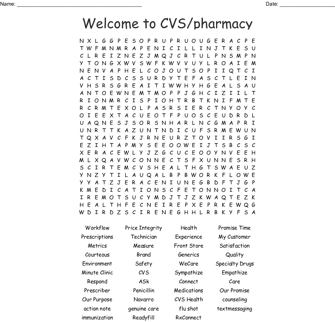 welcome to cvs  pharmacy word search
