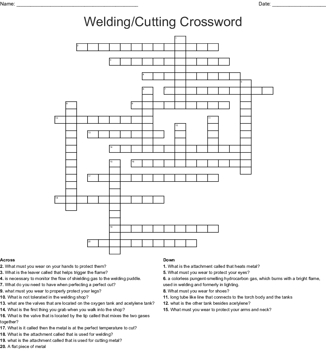Crossword puzzle clues & answers introduction to welding crossword answers