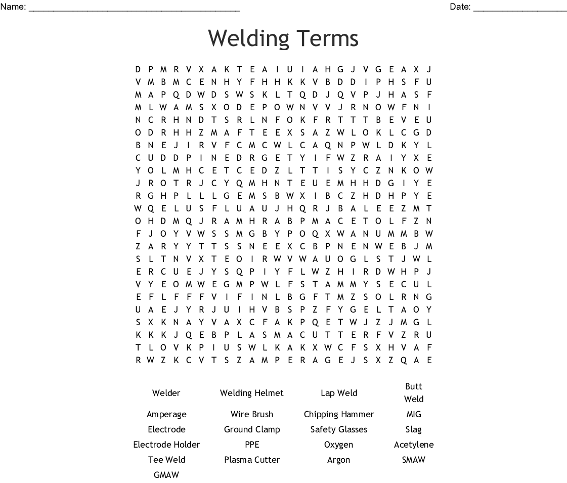 Nunez Community College introduction to welding word search