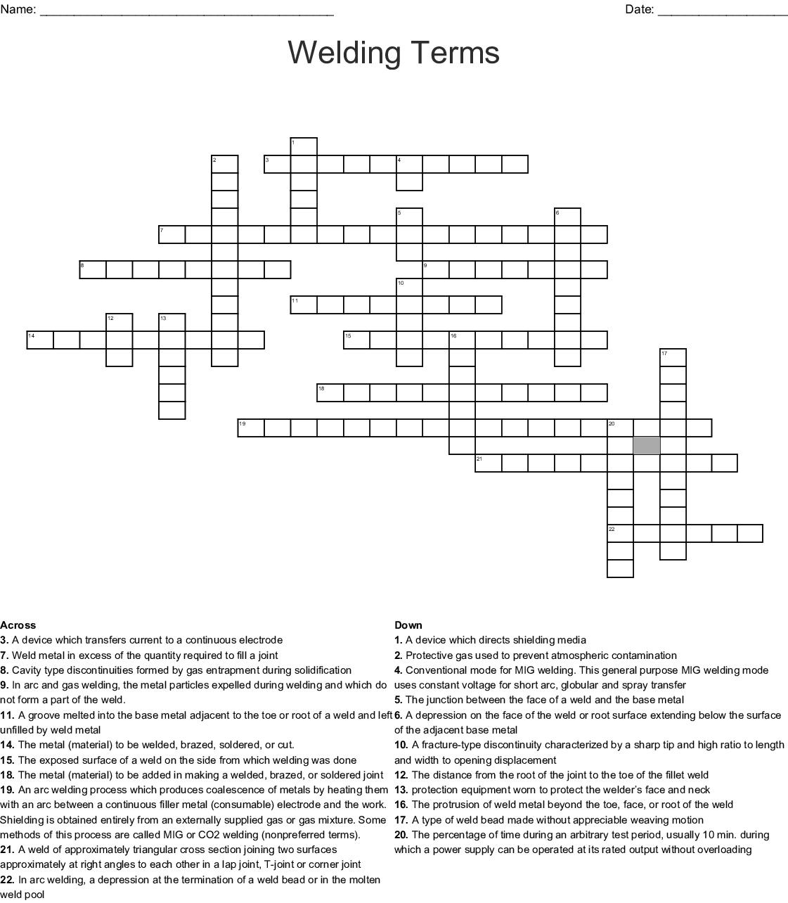 Welding Terms Crossword - WordMint