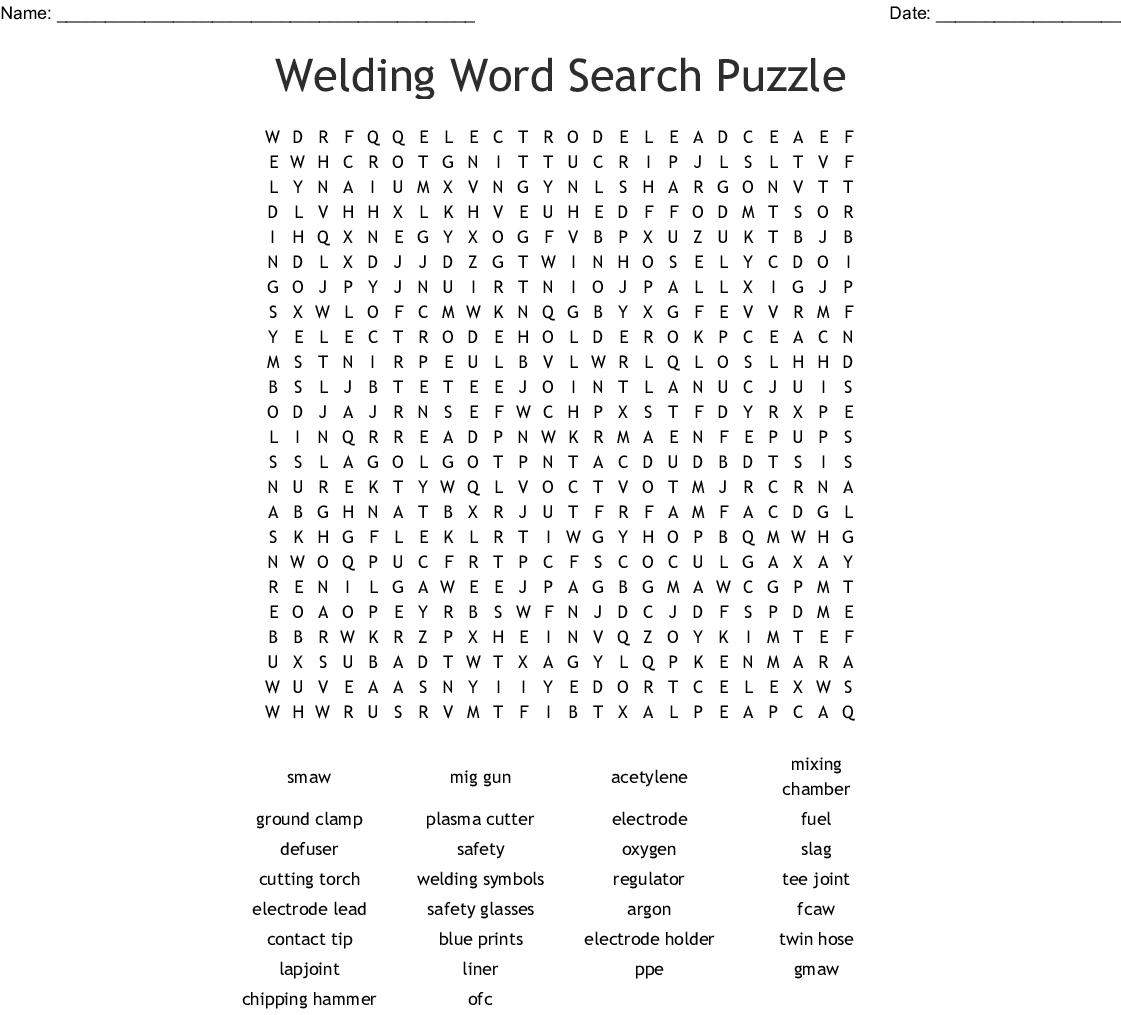 Vocabulary Crossword Puzzle: Welding - Crossword Puzzles