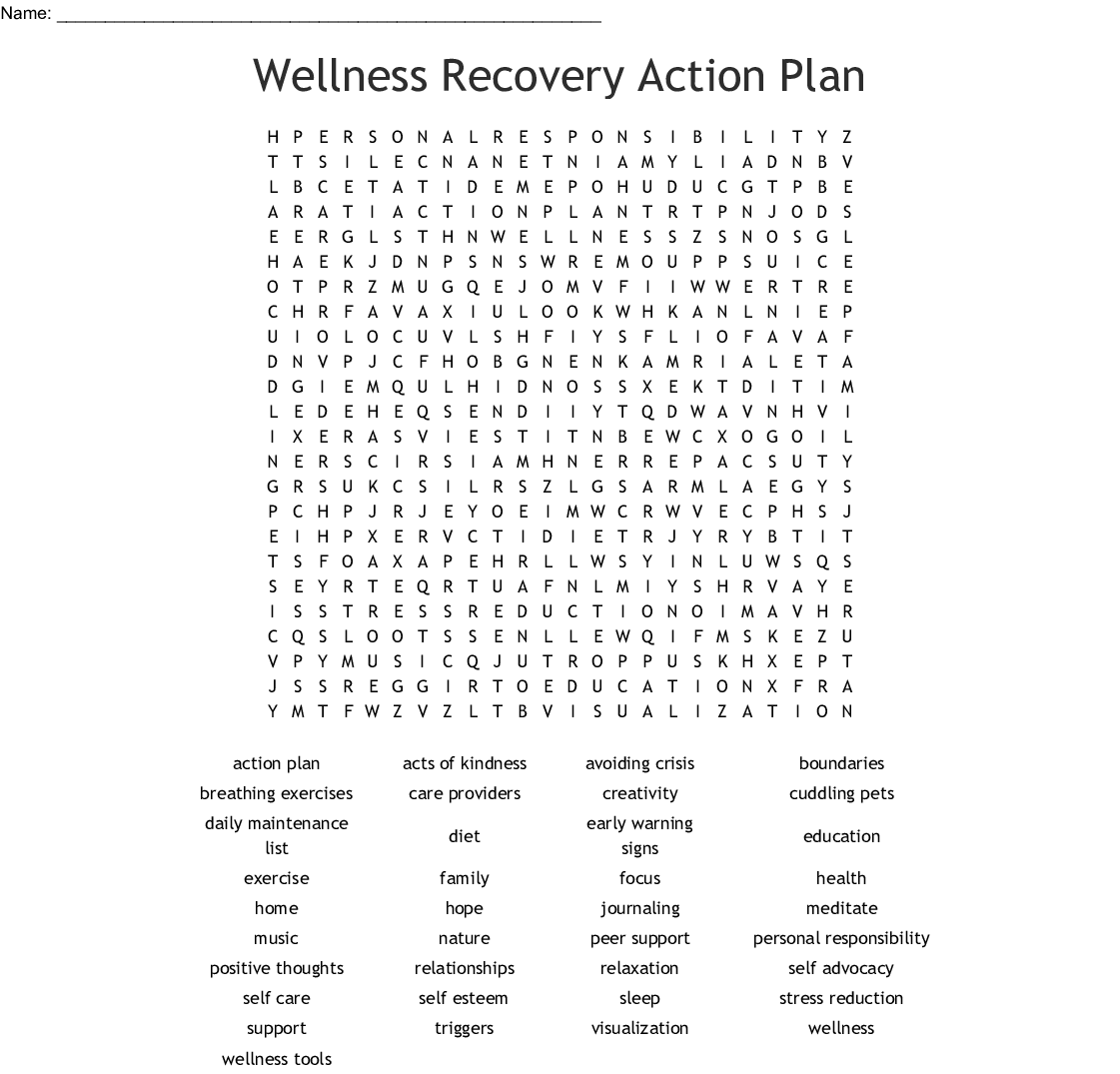 Wellness Recovery Action Plan Word Search Wordmint