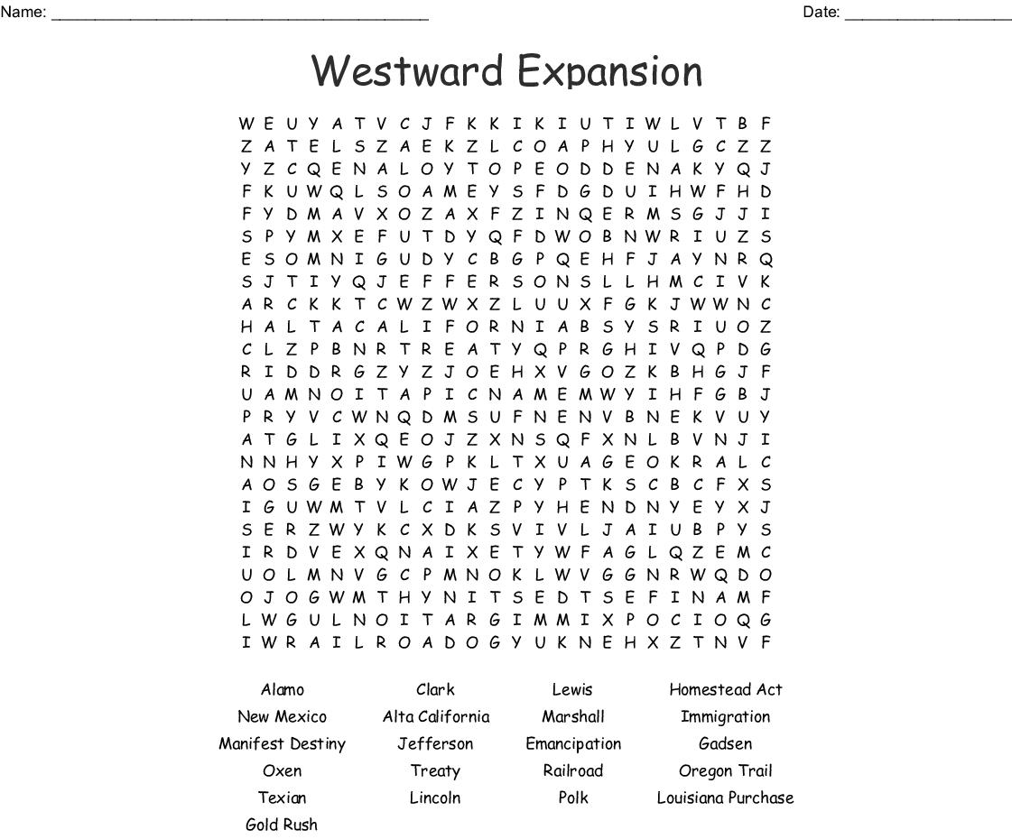 Westward Expansion Word Search - WordMint