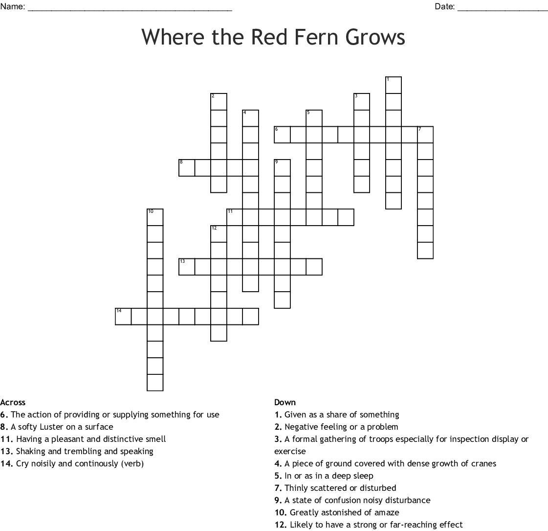 Where The Red Fern Grows Crossword Wordmint