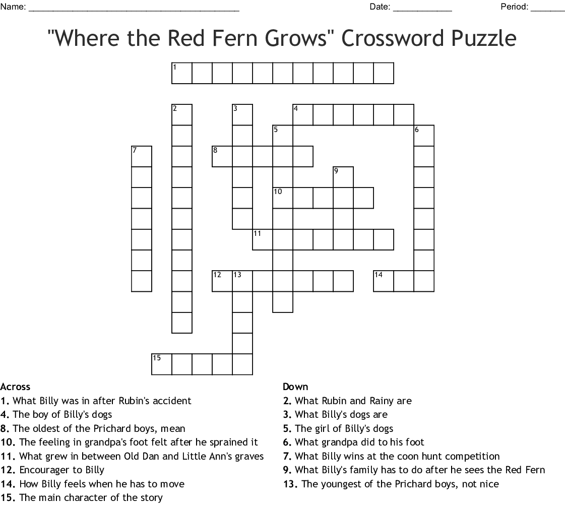 Where The Red Fern Grows Crossword Puzzle Wordmint