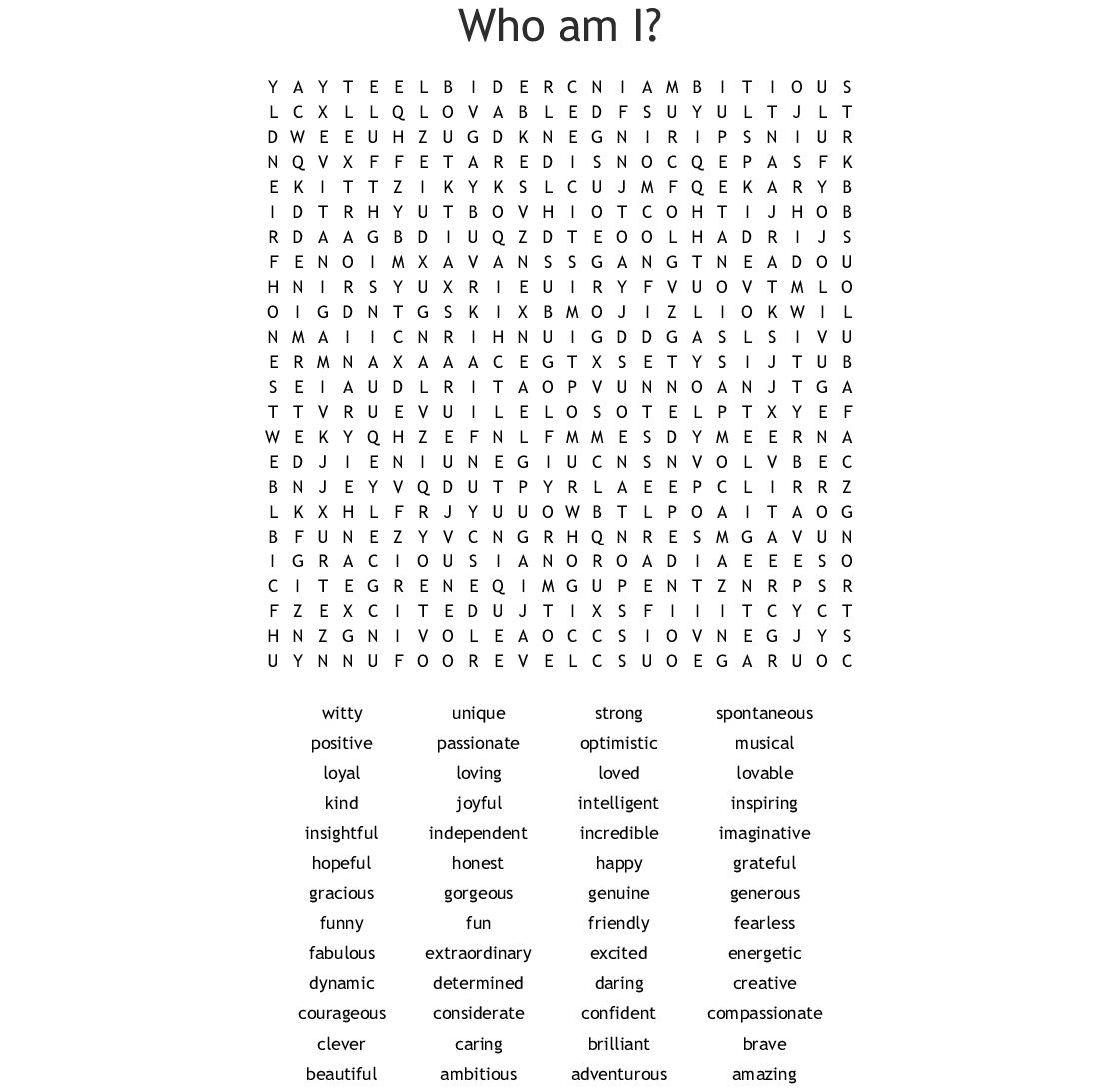 I Am Chart Word Search Wordmint