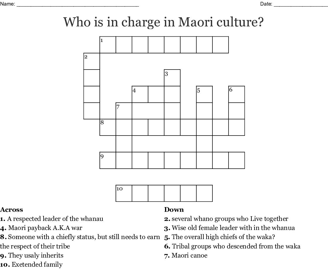 Who Is In Charge In Maori Culture Crossword Wordmint