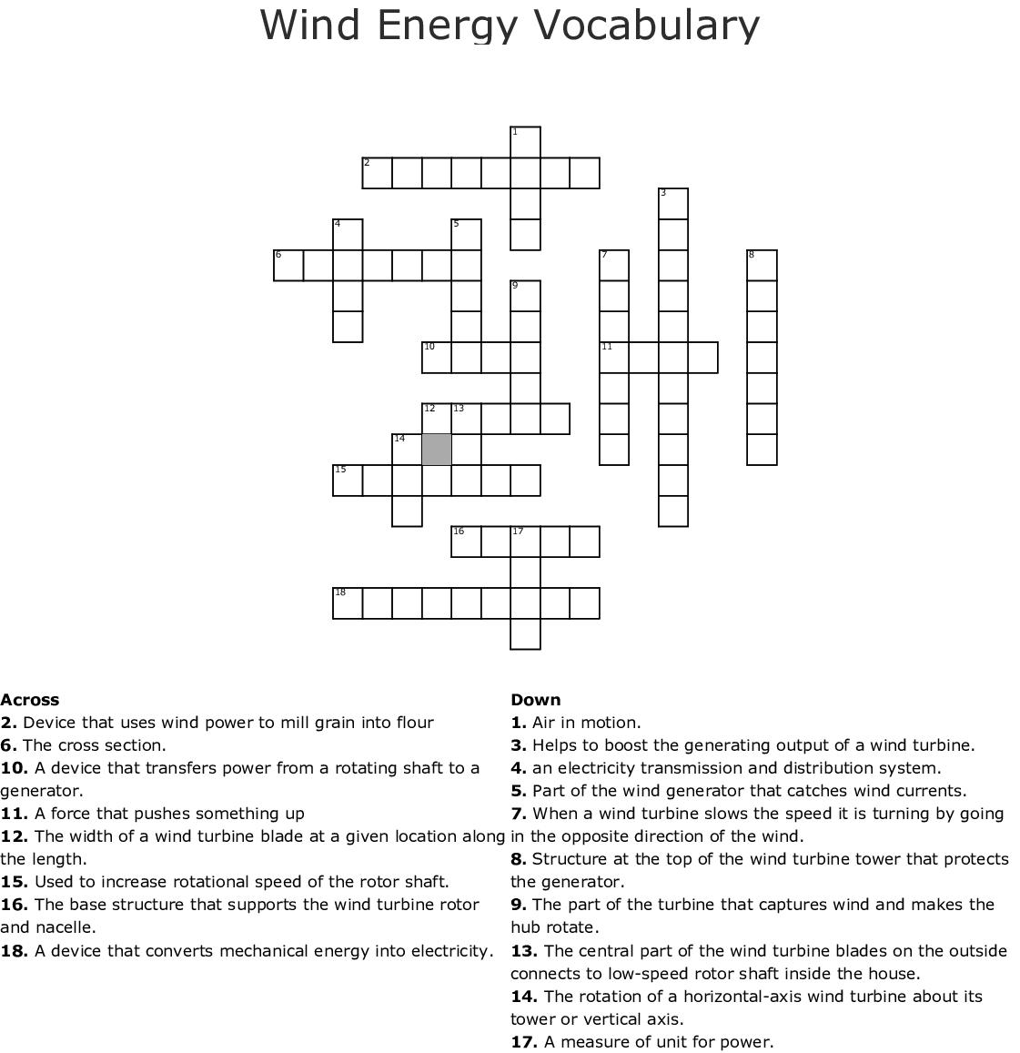 Wind Energy Vocabulary Crossword Wordmint