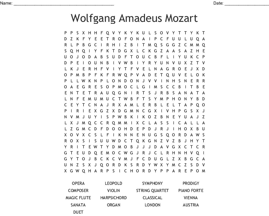Wolfgang Amadeus Mozart Word Search - WordMint