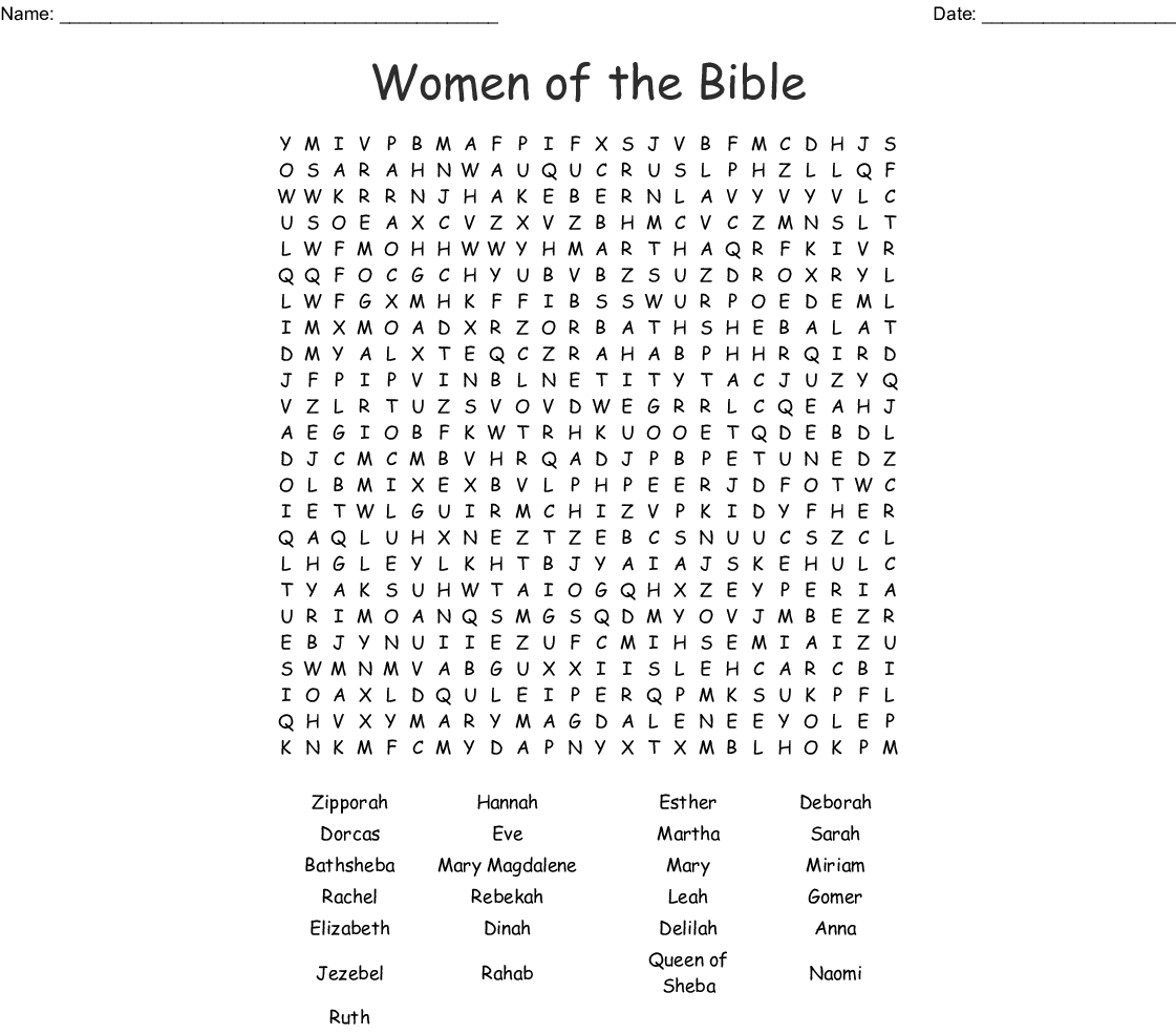 photograph relating to Bible Crossword Puzzles Printable With Answers identify Females of the Bible Phrase Glance - WordMint