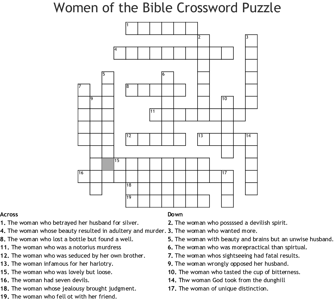 photograph about Bible Crossword Puzzles Printable With Answers named Gals of the Bible Crossword Puzzle - WordMint
