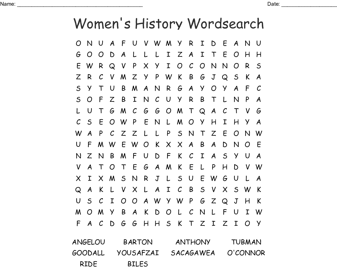 graphic about Black History Word Search Printable called Womens Historical past Wordsearch - WordMint