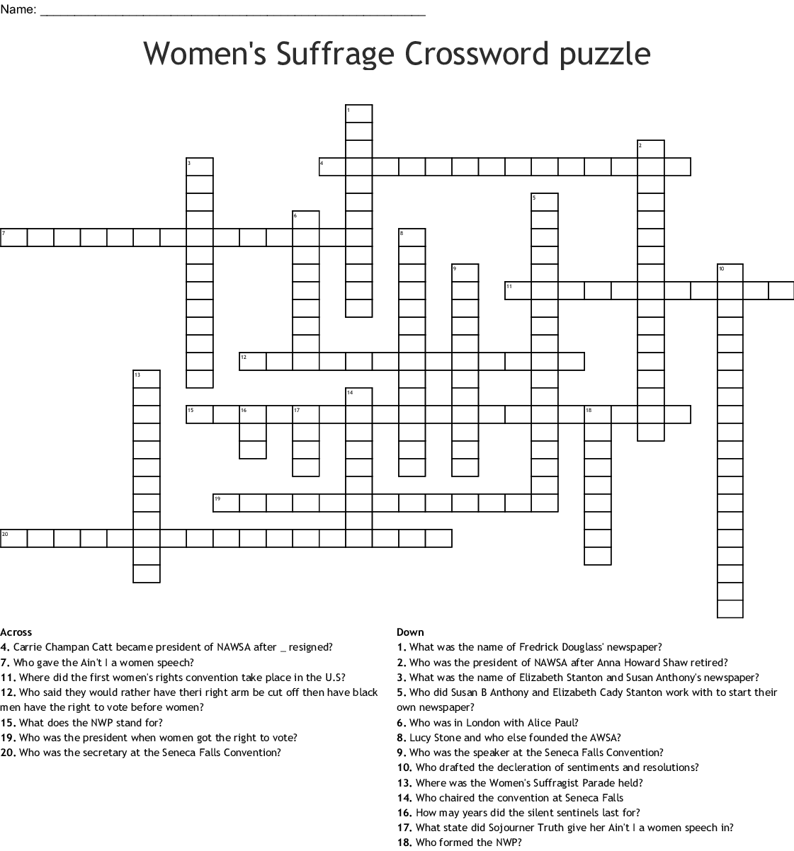WOMEN'S SUFFRAGE MOVEMENT Word Search - WordMint