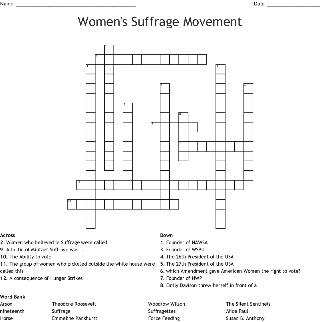 Women's Suffrage Puzzle Crossword - WordMint