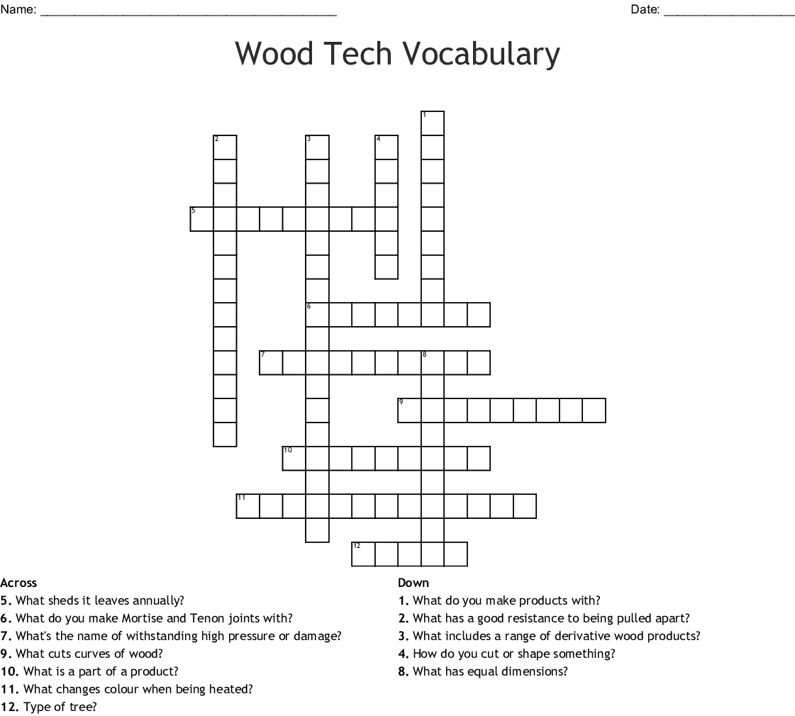 Wood Tech Vocabulary Crossword Wordmint