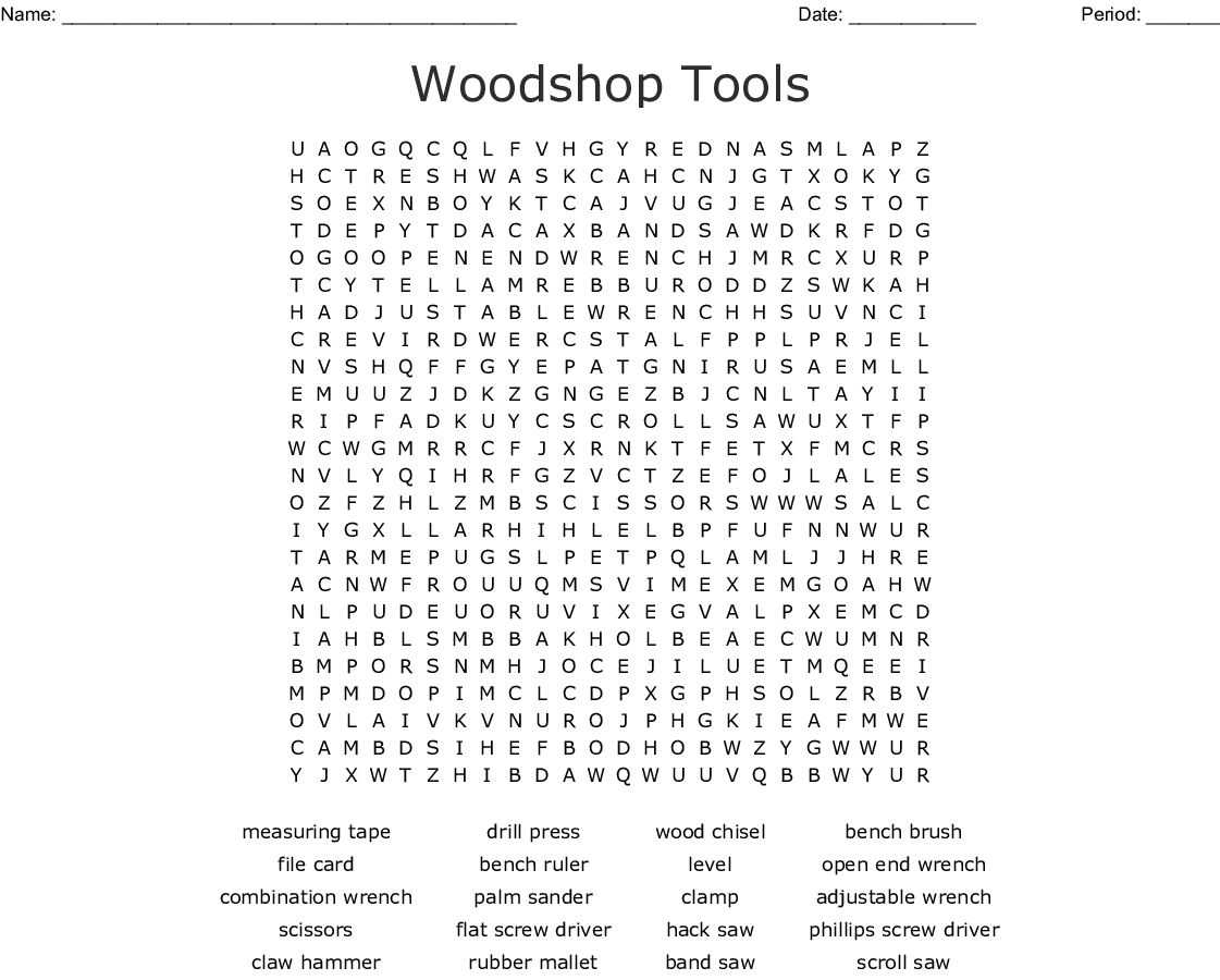 Woodshop Tools Word Search , WordMint