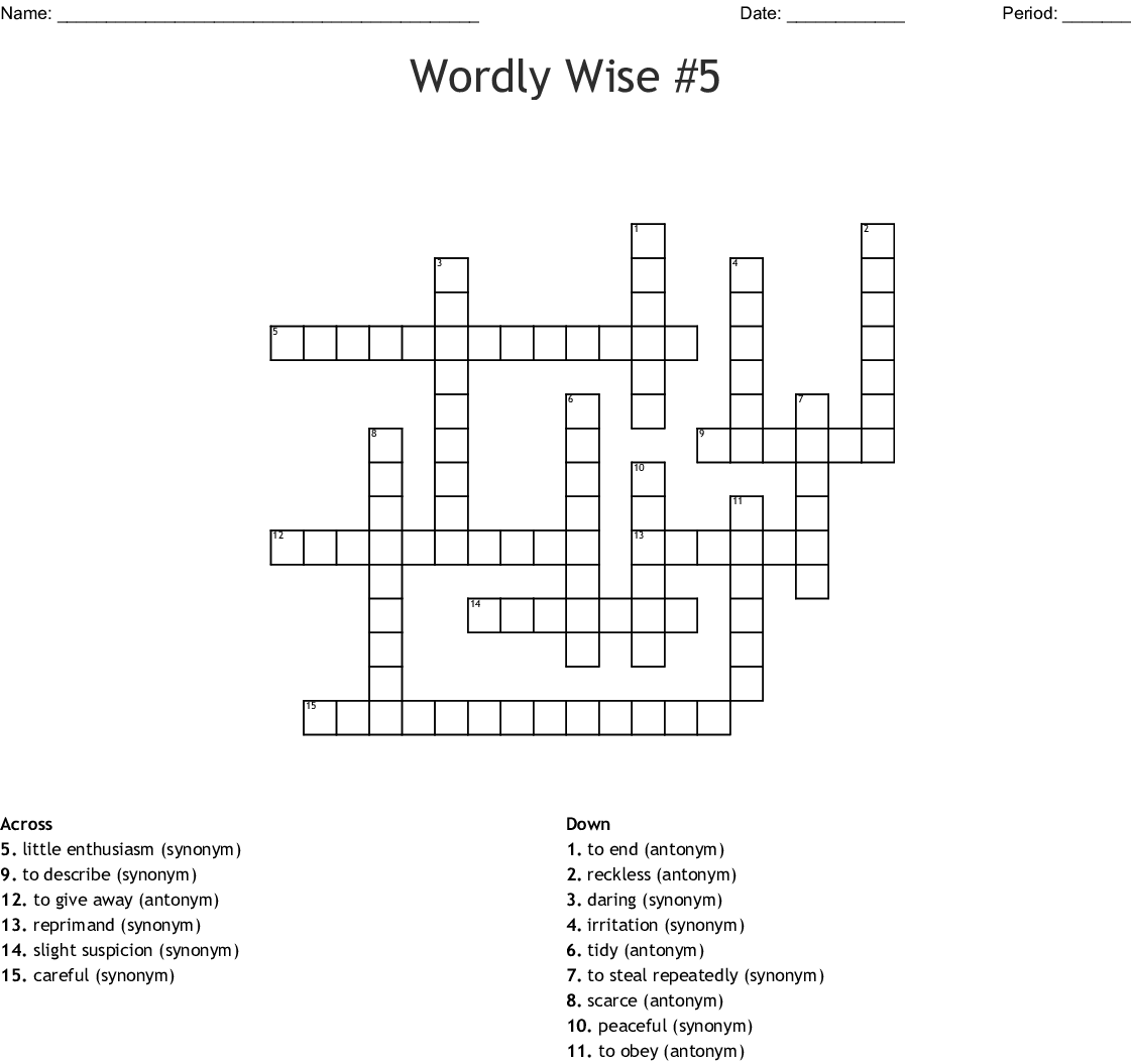 Wordly Wise : Lesson 5 Crossword Puzzle - WordMint