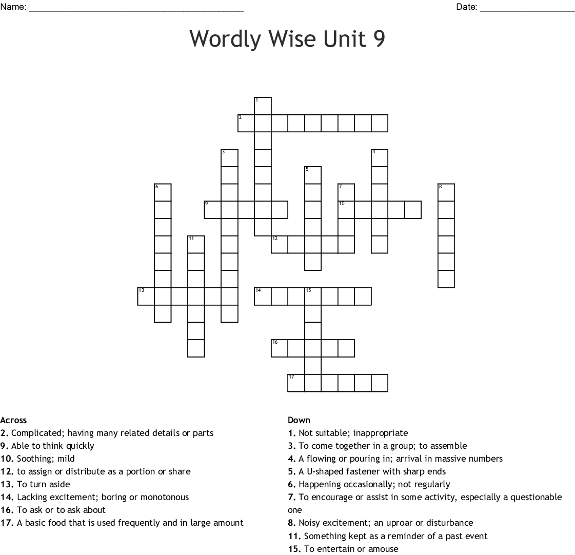 WORDLY WISE VOCABULARY #9 Crossword - WordMint