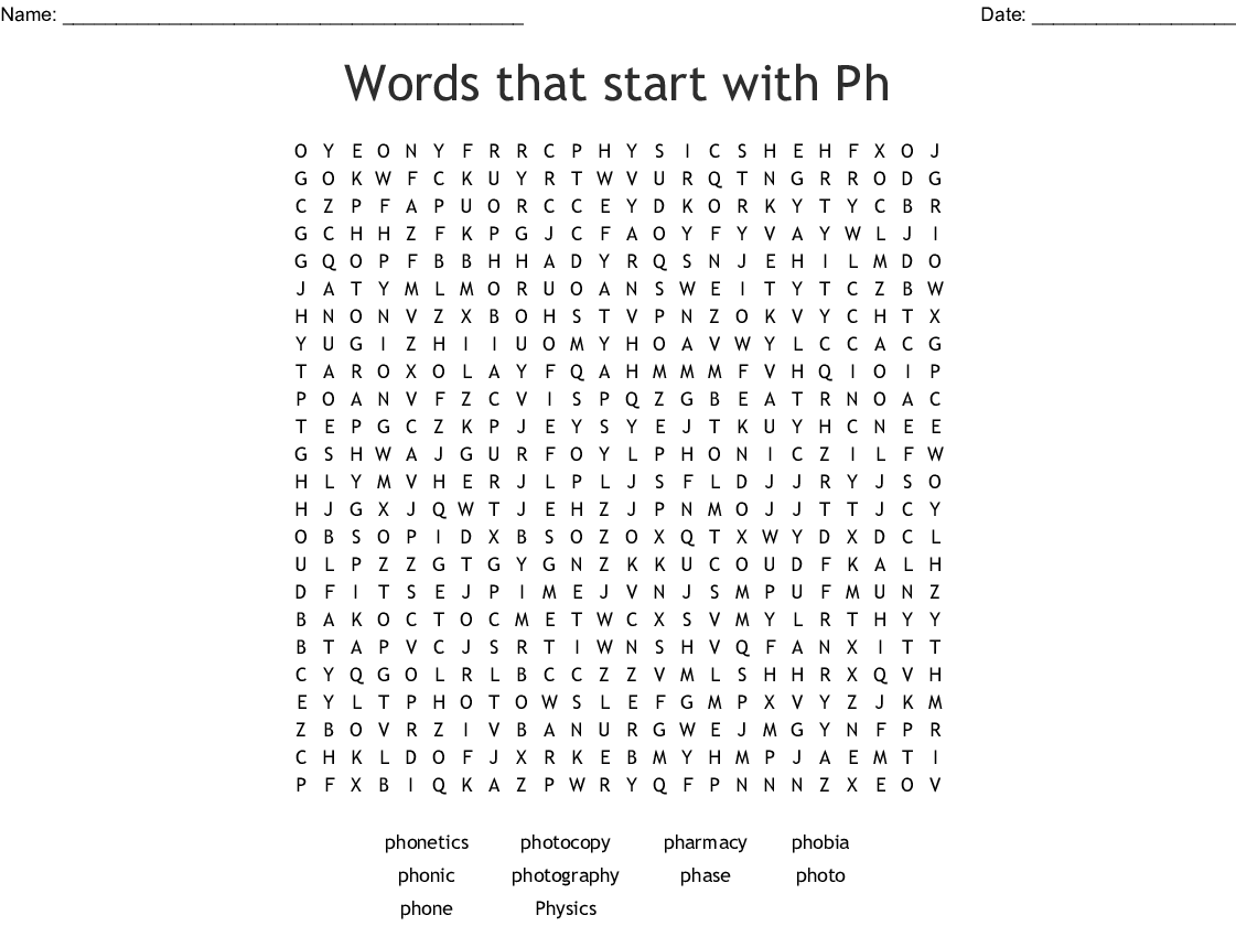 Words that start with Ph Word Search - WordMint