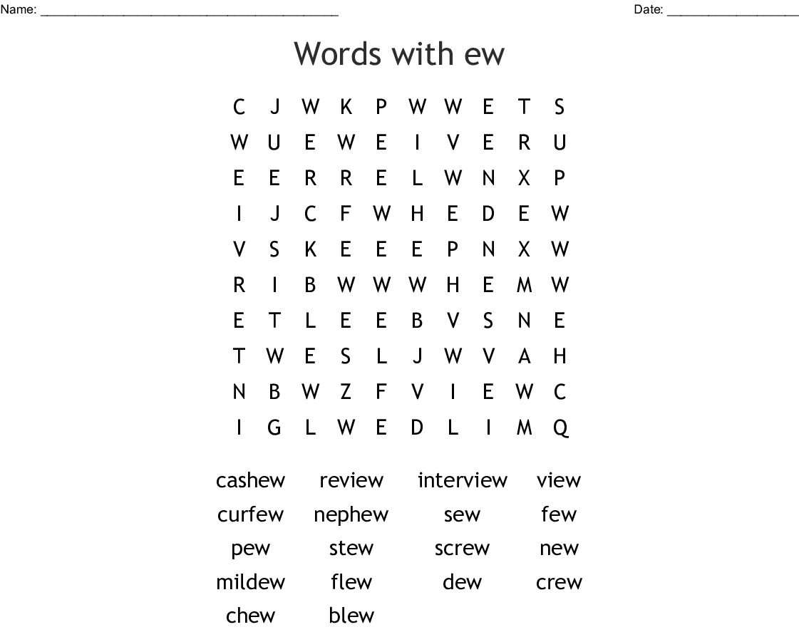 EW words Word Search - WordMint