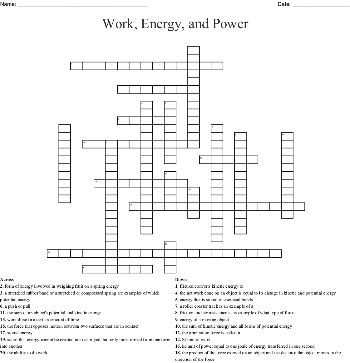 Types of Energy Crossword - WordMint