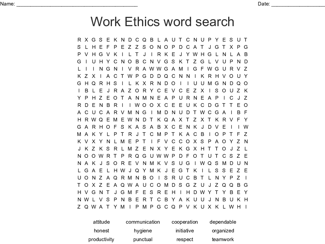 Work Ethics Word Search Wordmint