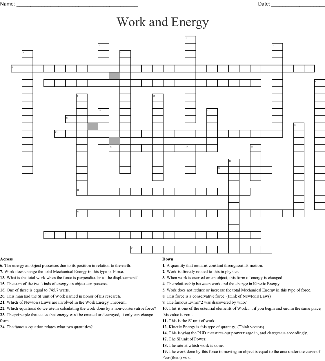 Work, Energy, and Power Crossword - WordMint