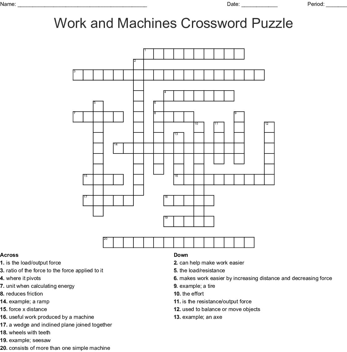 Simple Machines Crossword Wordmint