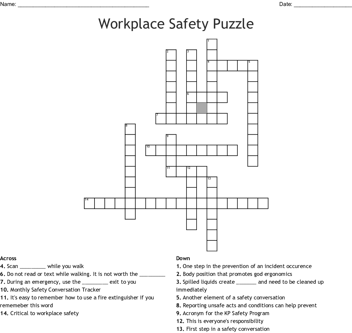 Workplace Safety Puzzle Crossword Wordmint