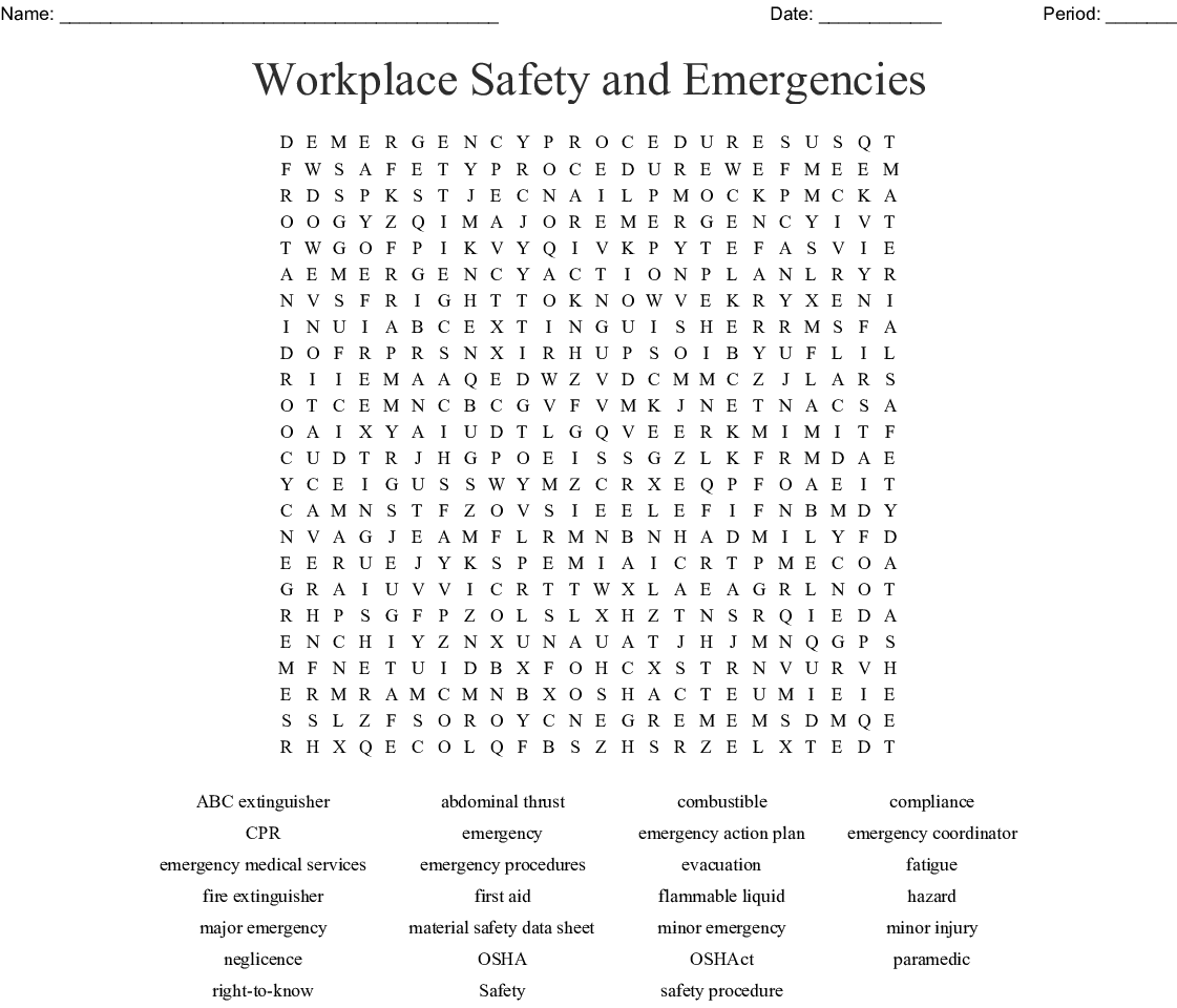 Workplace Safety and Emergencies Word Search - WordMint