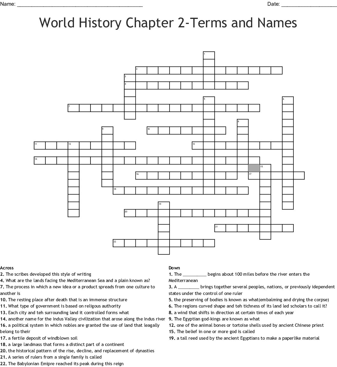 EARLY RIVER VALLEY CIVILIZATIONS Word Search - WordMint
