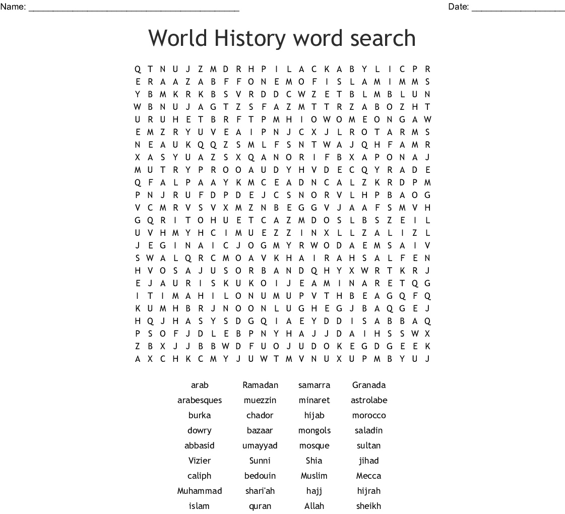 Chapter 8 Islamic Civilization Crossword - WordMint