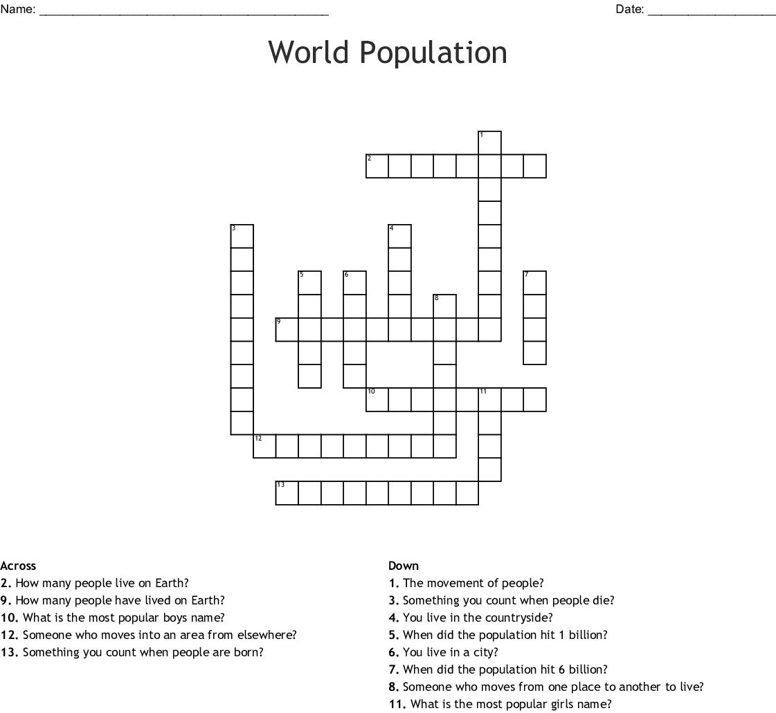 World Population Crossword - WordMint
