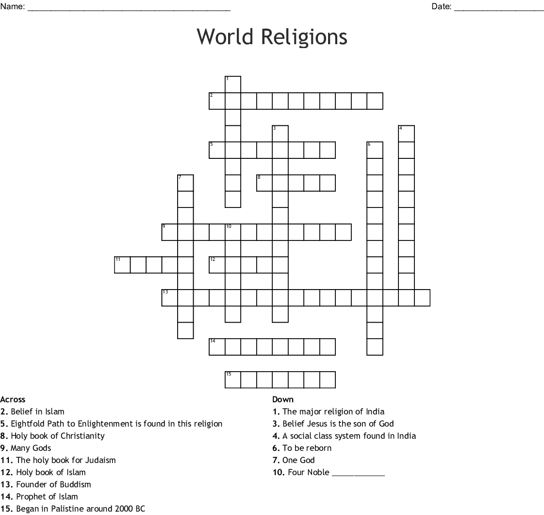 World Religions Crossword - WordMint
