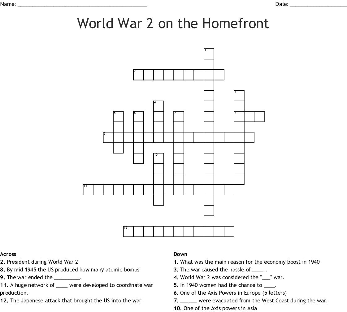 World War 2 On The Homefront Crossword Wordmint