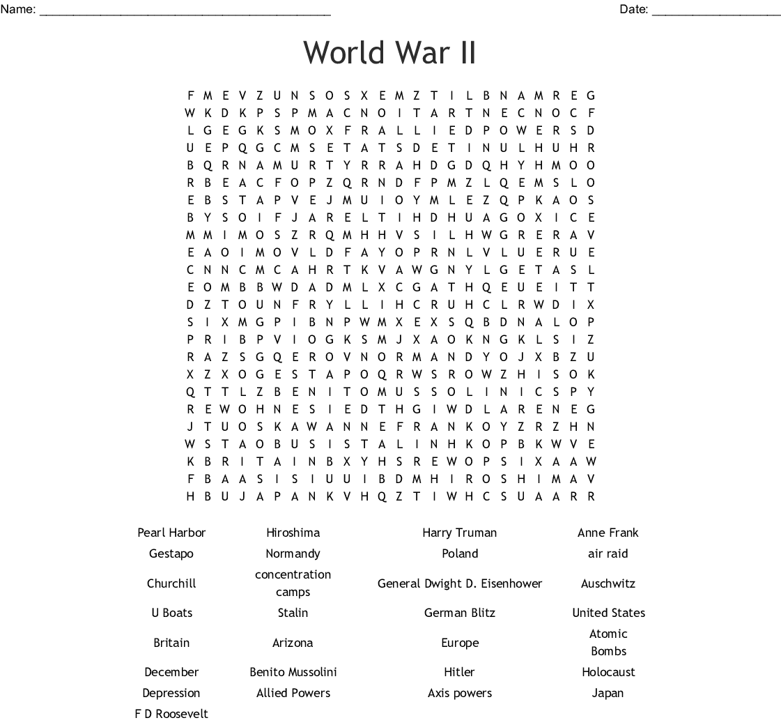 Pearl Harbor Word Search - WordMint