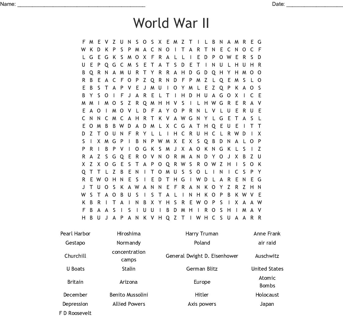 World War II Word Search - WordMint