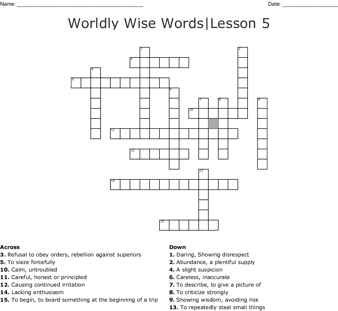 Wordly Wise Creative Assessment Lessons 5 8 Crossword Wordmint