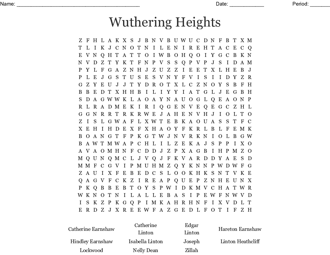 Wuthering Heights Word Search Wordmint